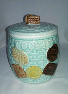 Vintage collectable Lobeco ceramanic cookie Jar with lid, basket weave