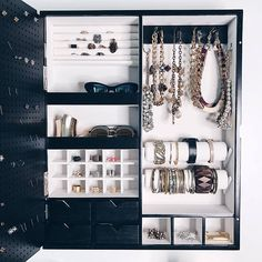 Negro pared montada joyas organizador marco espejo no