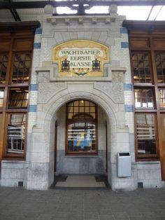 Dutch Jugendstil. Train station Haarlem, entrance to the First Class waiting room. Haarlem, North-Holland, The Netherlands.