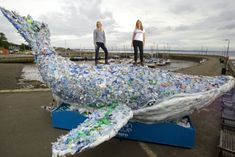 A whale made of plastic lies stranded on Musselburgh beach (Picture: Ian Rutherford)