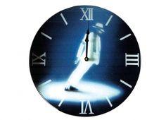 MICHAEL JACKSON OROLOGIO MURO VETRO 40CM MOON. Orologio muro vetro con foto di Michael Jackon vestito di bianco con sfondo blu