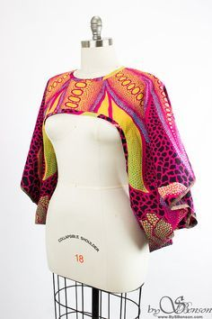 African Print Shrug  One Size by aconversationpiece on Etsy