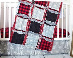 Bear Rag Quilt Bedding Crib Set for Baby Boy Nursery for Woodland Outdoor Adventure Theme - Red Plaid / Black  / Gray