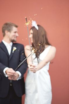 sparklers for the Bride and Groom getaway  Photography: Scott Lawrence - scottlawrencephotographs.com  View entire slideshow: 4th of July Wedding Details on http://www.stylemepretty.com/collection/431/