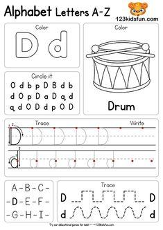 Free Alphabet Practice A-Z Letter Preschool Printable Worksheets to Learn Kids Alphabet Writing Worksheets, Letter Worksheets For Preschool, Preschool Writing, Preschool Letters, Alphabet Worksheets, Printable Worksheets, Kids Worksheets, Alphabet Games, Handwriting Worksheets