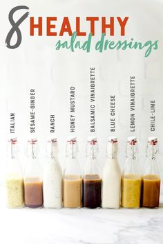 Skip the bottled stuff, and use these healthy salad dressing recipes to make your own at home for a fraction of the cost! Skip the bottled stuff, and use these healthy salad dressing recipes to make your own at home for a fraction of the cost! Healthy Salad Recipes, Healthy Drinks, Gourmet Recipes, Cooking Recipes, Healthy Salad Dressings, Homemade Salad Dressings, Healthy Cooking, Kale Recipes, Avocado Recipes