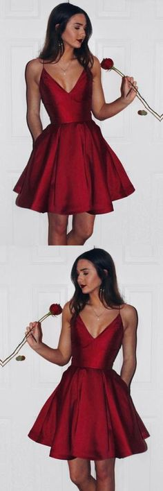 Burgundy Cute Simple Spaghetti Straps Homecoming Dress Party Dress PG125 #homecomingdress #homecoming #pgmdress #promdress #burgundy #simple #partydress #eveningdress #satin