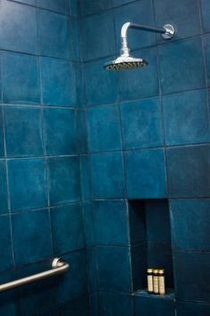 moody blue bathroom