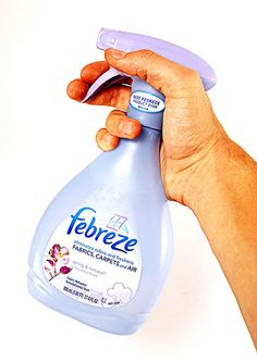 DIY Febreeze. An empty spray bottle, 1 1/2 cups water, 1 tablespoon baking soda, 1 to 2 tablespoons of fabric softener. Some say to just fill up the bottle, but I used filled an old Febreeze bottle like pictured, which apparently meant too much water because it wasn't as effective as I was wanting. Added more fabric softener and a little more baking soda and it's just like Febreeze.