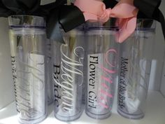 Wedding Tumblers -  Bride, Bridesmaid gifts, Bridal Luncheon, Groom, Groomsmen, wedding day, mother of the bride, mother of the groom on Etsy, $10.00