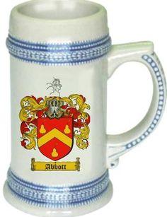 Abbott Coat of Arms / Family Crest tankard stein mug