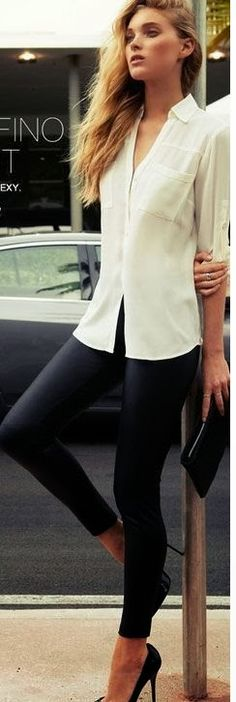 Skinny black jeans and white shirt and heels or boots. Just add a statement necklace and perfect