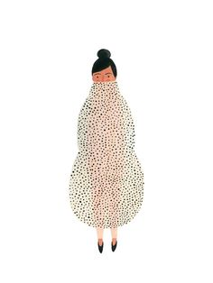 Kate Pugsley Illustration girl in a Polka dot Cocoon