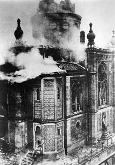Wiesbaden, Germany, A synagogue in flames during Kristallnacht, 10/11/1938.