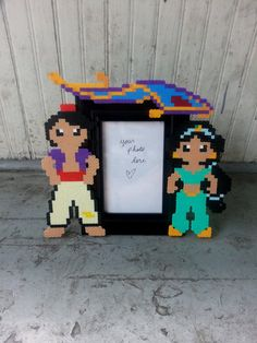 Jasmine and Aladdin Picture Frame perler beads by BurritoPrincess