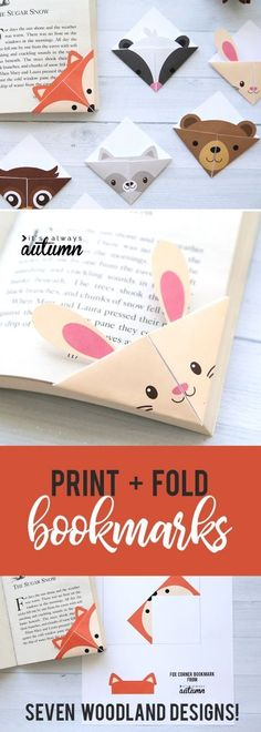 Seven different woodland animal origami bookmark templates. Just print, cut, and fold. How to make a corner bookmark. Origami DIY woodland animals origami bookmarks {print + fold} - It's Always Autumn Origami Design, Origami Art, Easy Origami, Origami Folding, Origami Boxes, Dollar Origami, Origami Ideas, Origami Flowers, Paper Folding