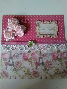 Pretty Sweet Paris greeting card with vintage lace and pale pink and cream roses.
