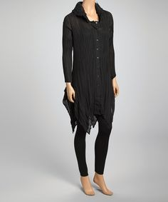 Look at this Pretty Angel Black Plisse Pleat Silk-Blend Button-Up Tunic on #zulily today!