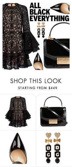 """Monochrome: All Black Everything"" by shoaleh-nia ❤ liked on Polyvore featuring Alexis, Tory Burch, Gianvito Rossi and Dolce&Gabbana"