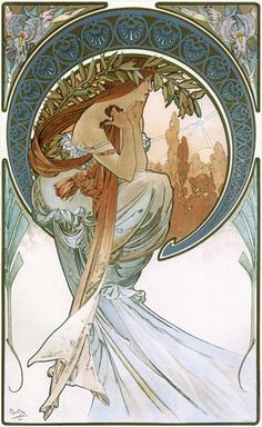 """ArtG014. Alphons Marie Mucha - """"Poetry"""" / From The Arts Series. 1898. Color lithograph. 60 x 38 cm. Tweet, Delicious Bookmark on Delicious / 1898"""