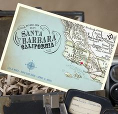 A vintage map postcard save the date is a great way to excite your guests about your upcoming wedding in Santa Barbara, CA! The Santa Barbara vintage map postcard save the dates are perfect for announcing your beach wedding.
