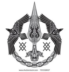 Der Speer des Gottes Odin – Stock-Vektorgrafik (Lizenzfrei) 721318657 The Spear Of The God Odin – Gungnir. Two ravens and Scandinavian pattern, isolated on white, vector illustration Der Speer des Gottes Odin – Stock-Vektorgrafik (Lizenzfrei) 721318657 Norse Runes, Norse Pagan, Pagan Art, Norse Symbols, Mayan Symbols, Egyptian Symbols, Ancient Symbols, Norse Mythology, Simbols Tattoo