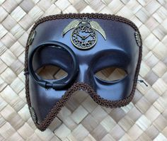 Brown Steampunk Mask for men or women with cogs, wings, clock and monocle by TahliasMasks on Etsy