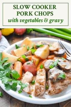 Tender and juicy Slow Cooker Pork Chops with Vegetables are coated in a creamy mushroom gravy for the ultimate cool weather comfort food! One Pot Meals   Easy Dinner Recipes   Pork Chop Recipes   Slow Cooker Recipes Best Crockpot Recipes, Crockpot Dishes, Crock Pot Cooking, Slow Cooker Recipes, Cooking Recipes, Easy Dinner Recipes Pork, Pork Recipes, Clean Eating Shrimp