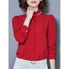 RoseWholesale - Rosewholesale Ruffled Collar Beaded Long Sleeve Chiffon Shirt - AdoreWe.com