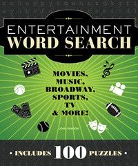 By: John Samson Let us entertain you! If you love words and you love the wide wonderful world of entertainment, these one hundred themed word searches are just the cool challenge you're looking for. T