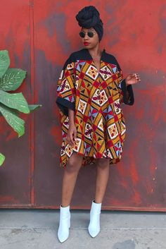 Mena Mode yellow red and black African Street Style Shirt in Ankara Fabric Crop Top Hoodie Daishiki for everyday wear or festivals or events