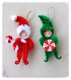 Christmas decorations Super cute chenille ornaments for your Christmas tree. One is a wee elf and the other is a Santa girl. Mint may vary slightly Christmas ornaments Paper Ornaments, Vintage Ornaments, Handmade Ornaments, Diy Christmas Ornaments, Homemade Christmas, Christmas Decorations, Vintage Santas, Glitter Ornaments, Beaded Ornaments