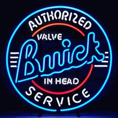 "BUICK SERVICE NEON SIGN-NN5BUICK  23"" wide, 23""high, 4"" deep  Adorn your garage with a retro vibe with our Buick Service Neon Sign, featuring multi-colored, hand blown tubing supported on a black, finished metal grid. The Buick Service Neon Sign can be displayed flat on a wall or in a window or alternately be placed upon a shelf."
