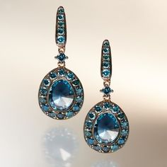 18ct Rose Gold Topaz and Blue Diamond Drop Earrings | Annoushka.com ❤ liked on Polyvore featuring jewelry, earrings, blue drop earrings, rose gold jewelry, blue topaz earrings, drop earrings and diamond drop earrings
