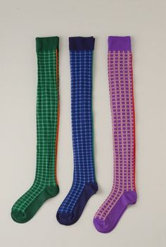 SS12 GINGHAM CHECK OVER KNEE SOCKS - VARIOUS - Other Image