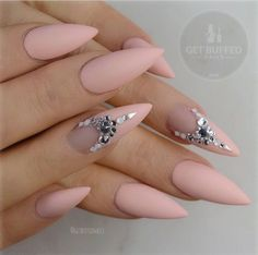 Beautiful pink matte stiletto nails found it on IG