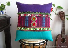 Boho Pillow - Purple Tribal Ethnic BohemianThrow Pillow Cushion Cover