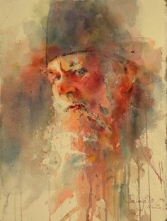 """Contemporary Painting - """"Just A Thought"""" (Original Art from Fealing Lin Watercolors)"""