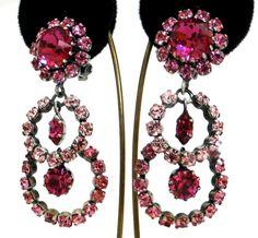 Stunning Fushia Austrian Crystal earrings. by JewelryOnVintageLane