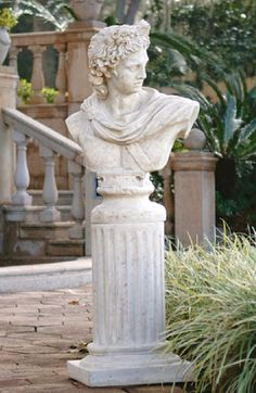 Apollo Belvedere Bust and Plinth Statue