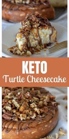 This keto caramel pecan turtle cheesecake is the best turtle cheesecake you will ever enjoy. It's keto-friendly and so delicious. The post Keto Caramel Pecan Turtle Cheesecake appeared first on Dessert Park. Keto Desserts, Keto Friendly Desserts, Dessert Recipes, Dinner Recipes, Keto Snacks, Dessert Blog, Holiday Desserts, Stevia Desserts, Keto Desert Recipes