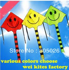 only 9.9$ high quality smiling face kite 2pcs/lot child kite nylon ripstop kite with handle line hello kitty chinese kite