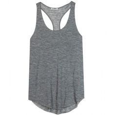 Acne Studios Believe Drapy Jersey Tank (£79) ❤ liked on Polyvore featuring tops, shirts, tank tops, tanks, dark grey melange, jersey knit tops, layering tank tops, jersey tops, layered tops and jersey knit shirts