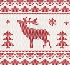 Christmas Knitted Background With Deer, Trees And Ornament Royalty Free Cliparts, Vectors, And Stock Illustration. Image 11765172.