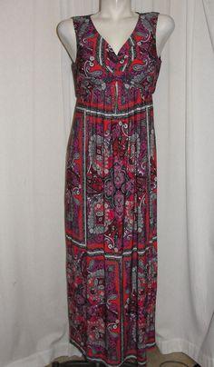 Chico's Dress Red Purple Black Paisley V-Neck Maxi Long Dress Women's Size 1 M #Chicos #SundressMaxi #SummerBeach