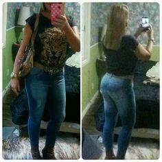 Jeans Biotipo, bolsa Kipling, camiseta animal print Zara, botas country