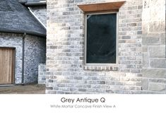 Antique Gray White Mortar Concave Finish Technique but with smear finish instead Cottage Exterior, Exterior House Colors, Exterior Paint, Exterior Design, Stained Brick Exterior, White Wash Brick Exterior, Brick Exteriors, Colonial Exterior, Ranch Exterior