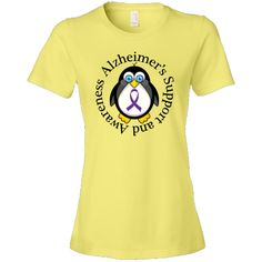 Alzheimers Support penguin Women's Fashion T-Shirts has purple ribbon logo for families battling alzheimer's in a loved one. $24.99 www.awarenesstshirts.com #Alzheimers #awareness
