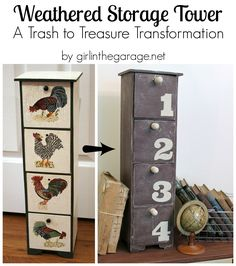 Trash to Treasure Makeover:  Weathered Rustic Storage Tower from Rooster Decor.  girlinthegarage.net