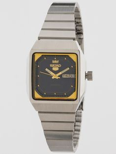 Vintage Seiko Square Navy/Gold Metal Band Watch | Shop American Apparel